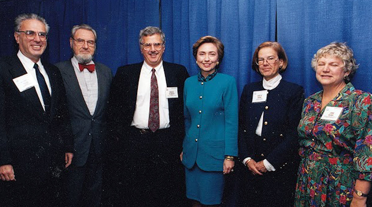 Bruce with Hillary Clinton and  C. Everett Koop in 1993.