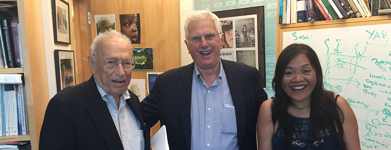Dr. Alberts being interviewed by the San Francisco Chronicle's David Perlman, with photographer Liz Hafalia, 2015.