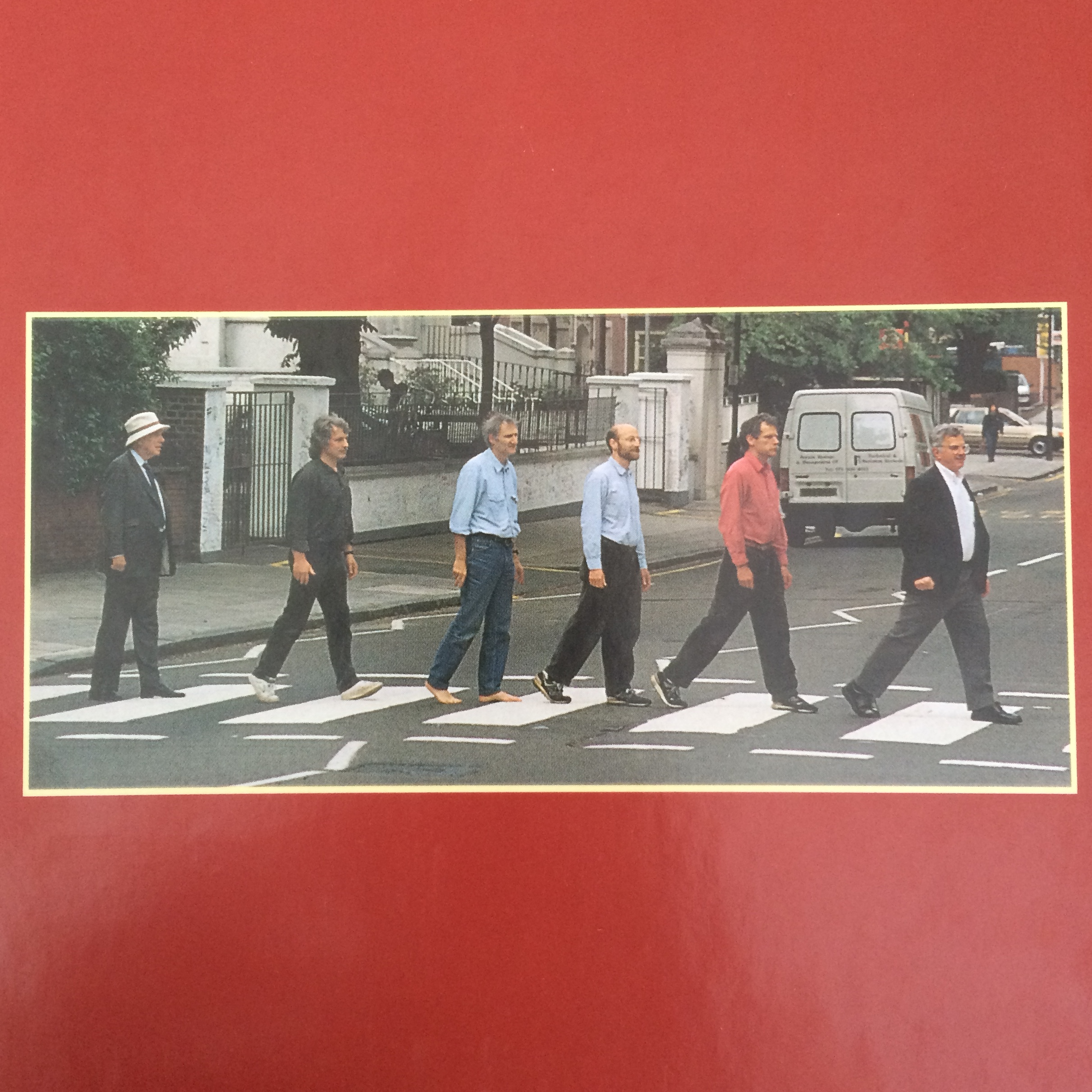 Authors of MBoC 3 imitating the famous Abbey Road cover.