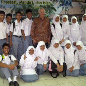 Bruce with students at Indonesian Madrasa