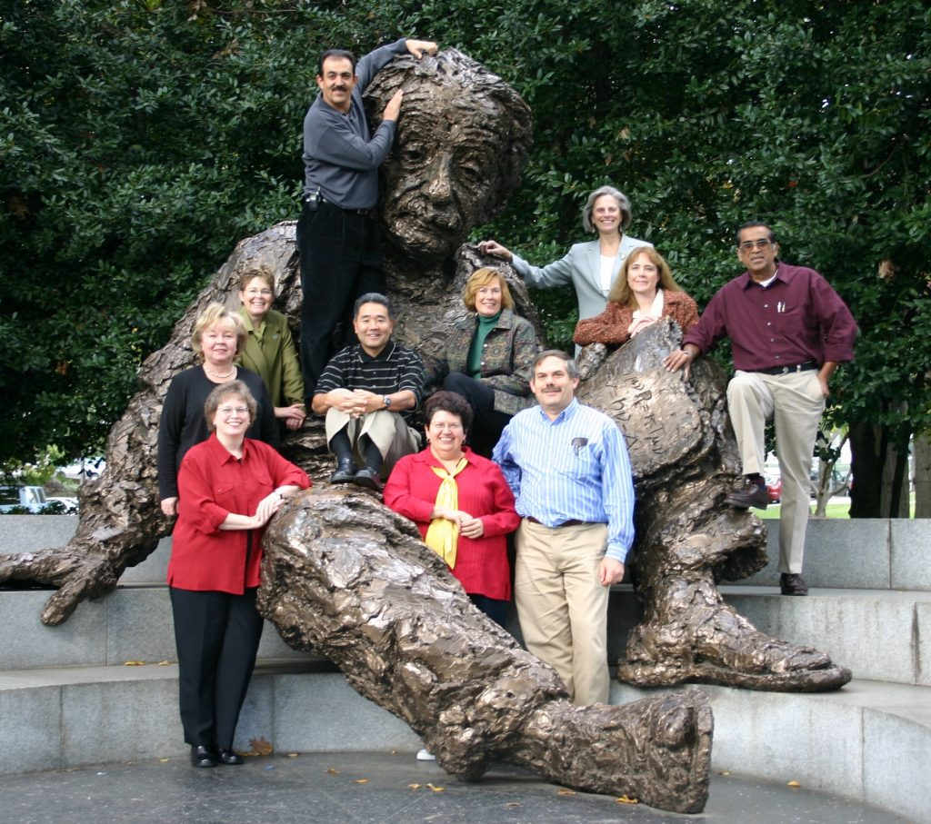 The first Teacher Advisory Council at the Einstein statue of the National Academy of Science, 2004.