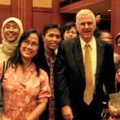 Dr. Alberts with young Indonesian scientists in 2010.